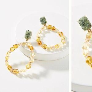 Anthropologie Agate Beads Hooped Drop Earrings